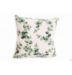 Neutral coloured cushion with green Eucalyptus leaf print motif. Approx 40 cm
