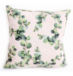 Neutral coloured cushion with green Eucalyptus leaf print motif. Approx 40 cm