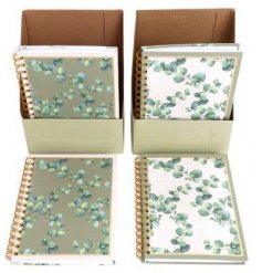 A5 notebooks with 2 possible designs - olive green background or white background, embellished with Eucalyptus print.