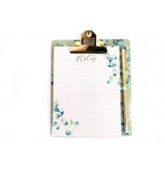 Clipboard & Notepad set embellished with Eucalyptus leaf motif. Set includes gold pencil.