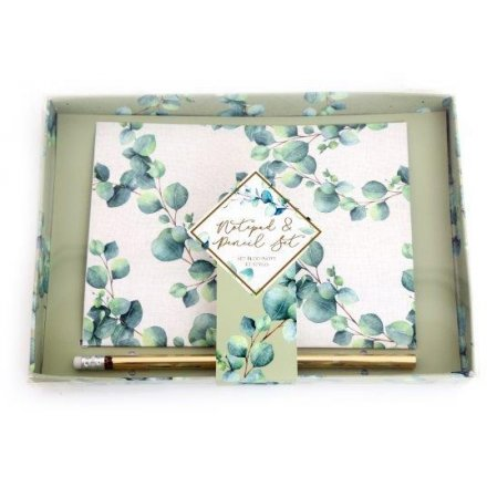 A5 Notepad & Pencil Gift Set Eucalyptus