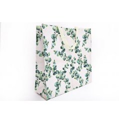 Practical fabric shopping bag decorated with striking Eucalyptus leaft print