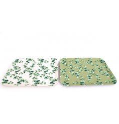 Large Eucalyptus print eco friendly bamboo tray with green or white background. Measures approx 43 x 32 cm