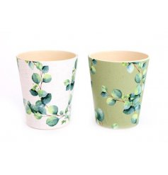 Eco friendly bamboo beaker in olive green or white, embellished with Eucalyptus leaf motif