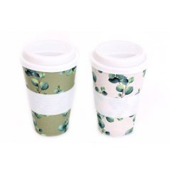 Eucalyptus leaf print eco friendly bamboo travel mug - available with green or white base colour.