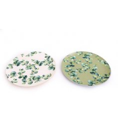 Eco friendly dinner plate from the Eucalyptus giftware range, available with green or white background colour