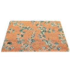 Delightful door mat embellished with Eucalyptus leaf print. Approx size 60 x 40 cm