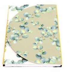 Attractive notepad with magnetic wrap closure, embellished with Eucalyptus print. Measures 18 x 12 cm