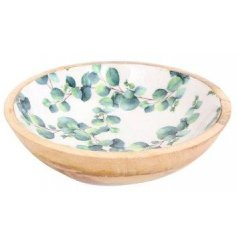 Thick cut wooden bowl, embellished with Eucalyptus print design. Small size, approx 17.5 cm