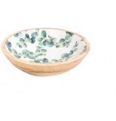 Solid wooden bowl, decorated with Eucalyptus print. Medium size, approx 25 cm