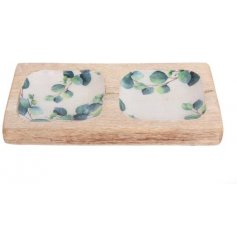 Wooden two compartment snack tray inlaid with Eucalyptus leaf print embellishment. Measures approx 20 x 10 cm