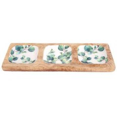 Three dish snack tray made from wood inset with decorative Eucalyptus print. Approx size 30 x 10 cm