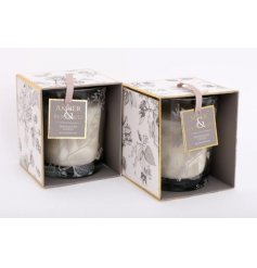 Gift box scented candle jar decorated with Skeletal Leaf motif. Musk & Sandalwood or Amber & Patchouli