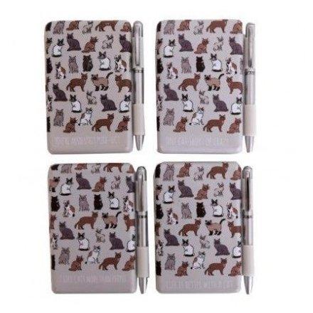 Cat Pattern Gift Set 10 cm Notebook & Pen