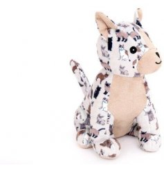 A chic cat fabric doorstop in neutral colours. A unique print with a plush design.