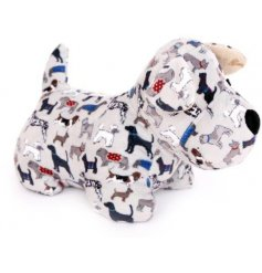 A charming and unique dog print doorstop featuring a variety of breeds with cute and colourful coats.