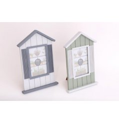 A mix of 2 chic beach hut design photo frames in stylish blue and green hues.
