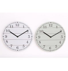 From the Love Grows Here range, wooden wall clock available in grey or green, measures approx 30 cm.
