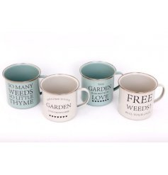 Durable metal garden-themed mug from the Love Grows Here range, available in green or cream. Measures approx 9 x 10 cm
