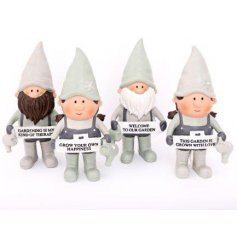 Novelty polyresin gnomes from the Love Grows Here range, measures approx 20.5 cm tall