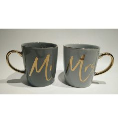 Trendy Mr & Mrs mugs in dark colours with gold highlights.
