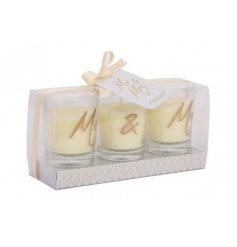A charming set of scented candles printed with a Mr & Mrs decal
