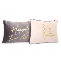 A charming mix of grey and soft pink toned cushions with added gold script text decals