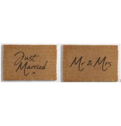 A mix of two wedding design doormats including Just Married and Mr and Mrs designs.