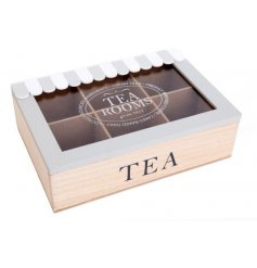 A charming wooden Teabox featuring a grey and white canopy inspired decal and segmented inner