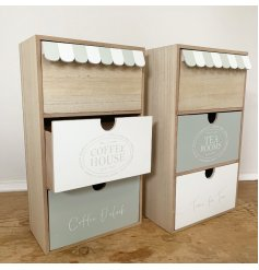 With the Natural Wood, Grey and White tones, these draws also feature a quirky Canopy inspired edging
