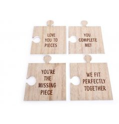 A charming set of 4 natural wooden coasters, each cut into a jigsaw puzzle piece