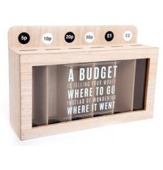 Wooden money box with coin sorting and viewing panel to keep track of savings