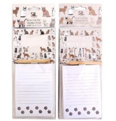 Magnetic memo pad with cat pattern embellishment in one of two designs