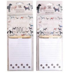 Magnetic memo pad with dog print motif and one of two dog-related slogans