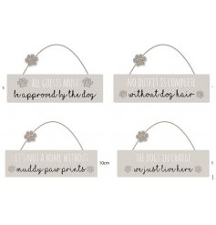 Dog Pattern wooden hanging plaque with dog-related messages, embellished with paw print motif
