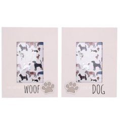 Dog print paw design wooden photo frame with 2 different slogans