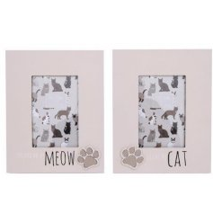 2 designs of wooden photo frames with cat print motif and slogans
