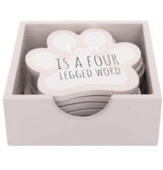 Set of 6 wooden dog paw print shaped coasters printed with dog related sayings, in practical storage box