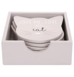 Wooden coasters shaped like cat faces in a practical storage box.