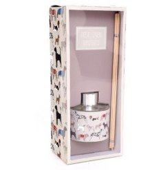 Fresh linen scented reed diffuser with dog print motif