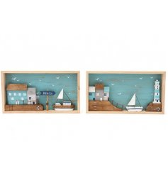 A mix of 2 rustic wooden seaside plaques with beach scenes crafted within box frames.