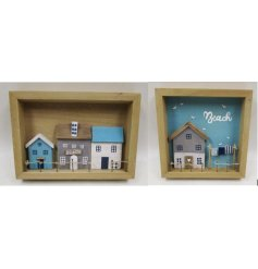 A mix of 2 charming wooden seaside box frames with blue and white painted beach houses.