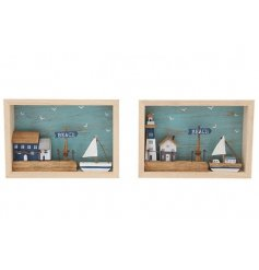 An assortment of 2 charming wooden beach scenes set within a box frame.