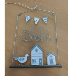 From the Beach House range, charming wire design hanging plaque with coastal theme. Measures approx 29 x 22 cm