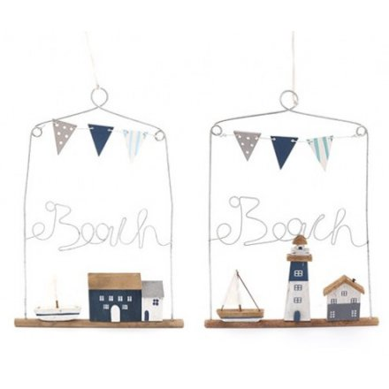 29 cm Seaside Hanging Plaque Wire Outline