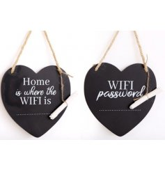 Hanging heart chalkboard plaque with chalk, approx 15 cm