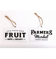Available in Farmer's Market or Fruit design, these hanging enamel wall plaque are a perfect addition to any kitchen