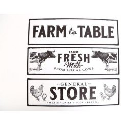 An assortment of 3 black and white rustic living metal signs with Farm slogans and animal illustrations.