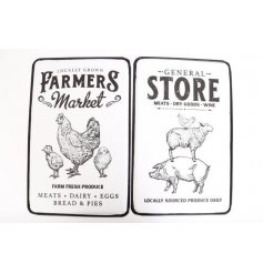 Choose between a market theme and a shop theme for these traditional enamel wall signs