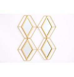 Golden geometric wall mirror made from 4 identical diamond shaped panels. Approx 40 cm